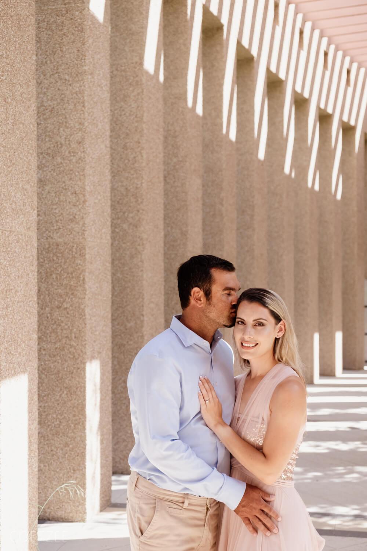 romantic engagement couple kiss