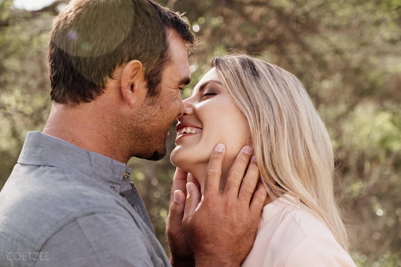 romantic engagement Windhoek riverbed kiss