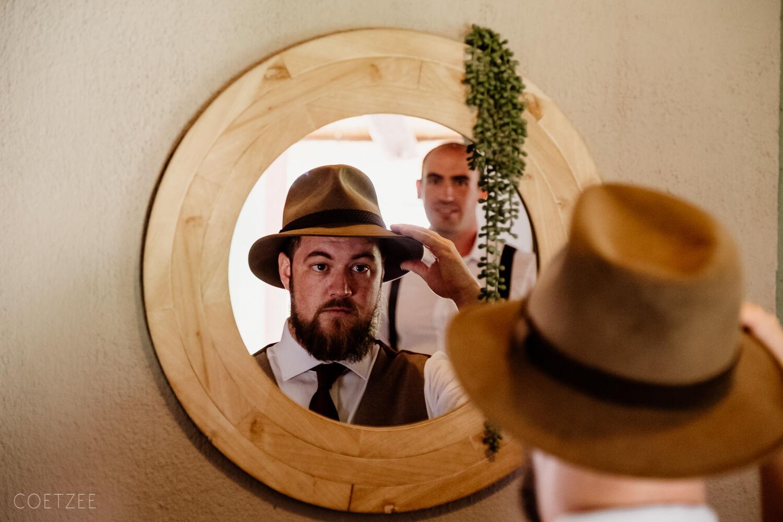 groom hat mirror